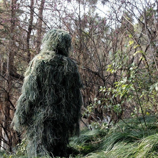 Outdoor Hunting Bird Watching Stealth Ghillie Clothes Suit Army Fan Field Camping Training Shooting Sniper Tactical Military Set 6