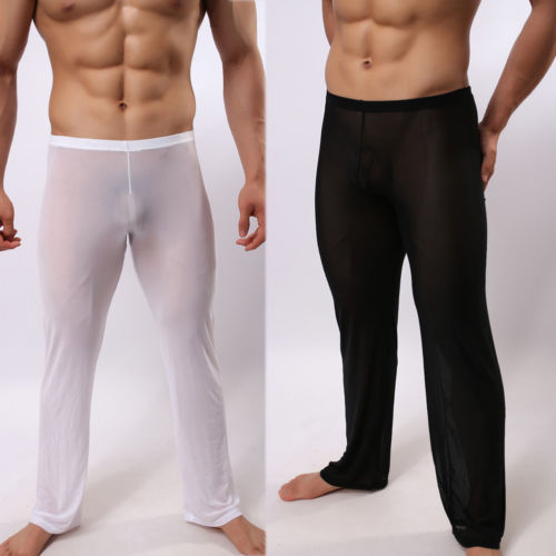 Men Sexy See Through Polyamide Sexy Sleep Pants Soft Lounge Sleeping Pajamas Man Nightclothes Perspective Pants