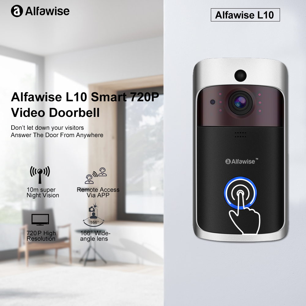 Alfawise L10 Smart IP Camera 720P Home Security Doorbell IR Night Vision APP Remote Control WiFi Video Camera For Android IOSAlfawise L10 Smart IP Camera 720P Home Security Doorbell IR Night Vision APP Remote Control WiFi Video Camera For Android IOS