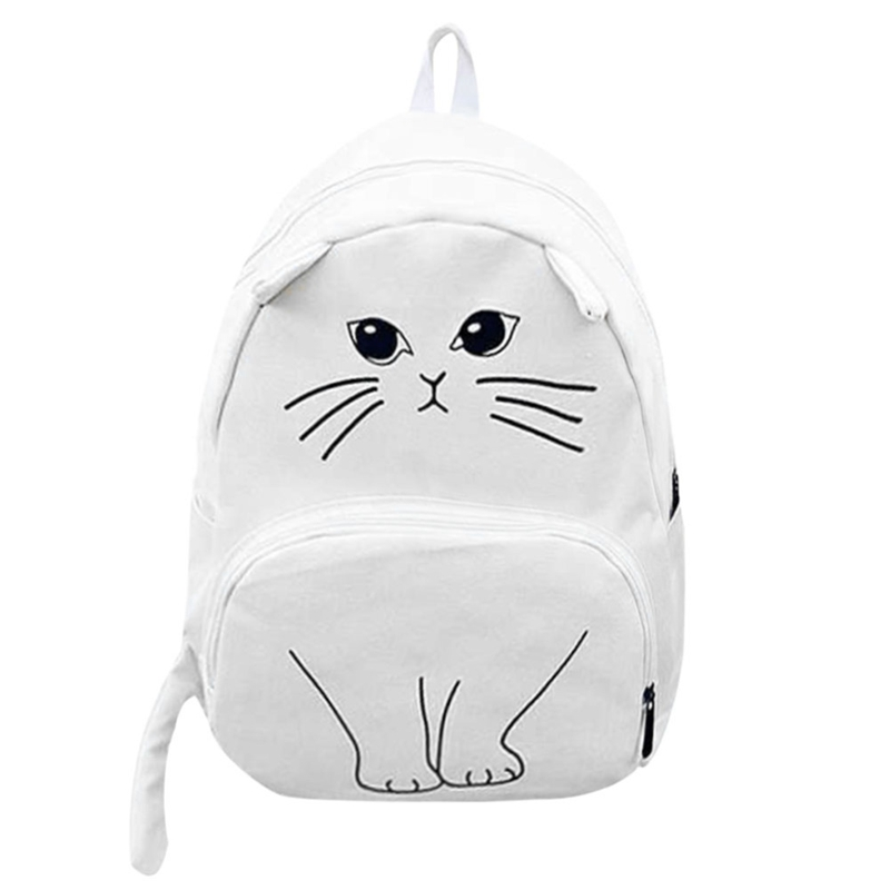 Lovely Cat Printing Backpack Women Canvas School Backpack For Teenagers Ladies Casual Cute Rucksack BookbagsLovely Cat Printing Backpack Women Canvas School Backpack For Teenagers Ladies Casual Cute Rucksack Bookbags