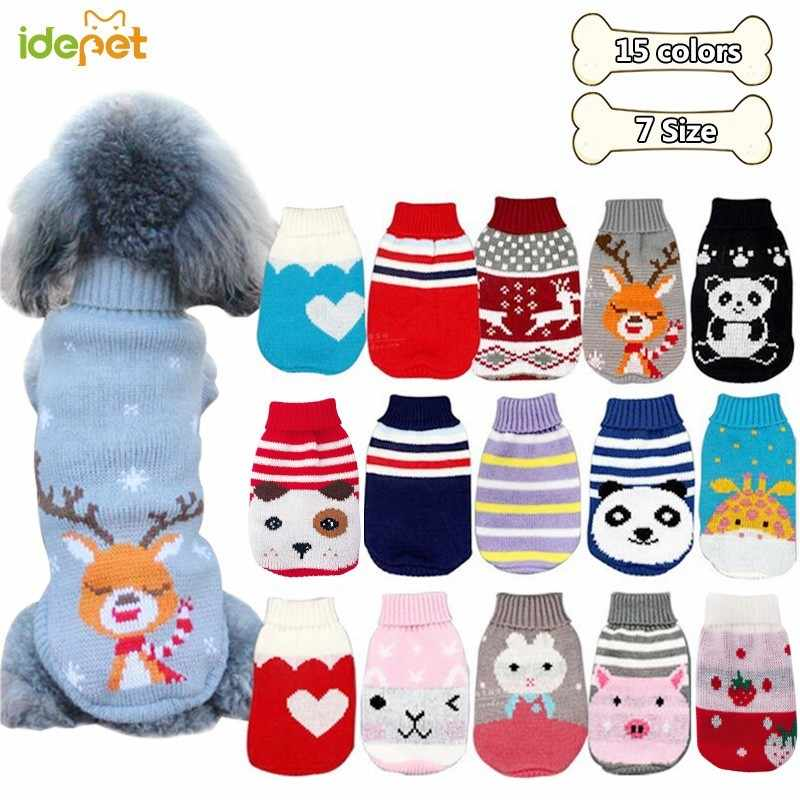 Winter Cartoon Dog Clothes Warm Christmas Sweater For Small Dogs Pet Clothing Coat Knitting Crochet Cloth Jersey Perro 30S1