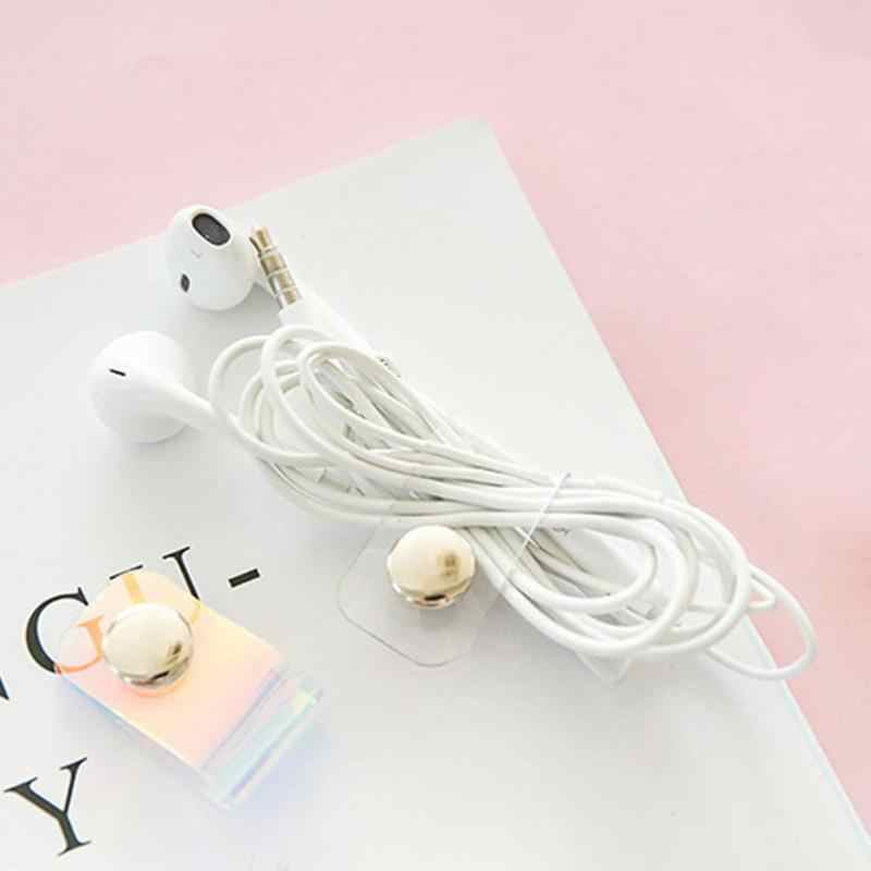 Cute Cable Protector PVC Transparent Laser Snap Button Winder Portable Earphone Data Cord Wire Storage Buckle Organizer