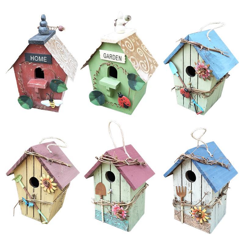 Wooden Bird House Garden Decoration Yard Tree Decorative Hangings Hand-painted Bird's Nest Garden Plant Ornaments