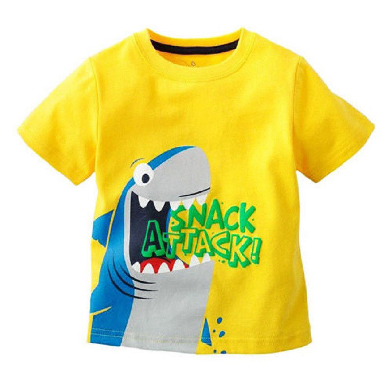 Children Baby Cartoon Animals Short Sleeve T-shirt Clothes Kids Boys T-shirts Cotton Casual Tee Tops(China)