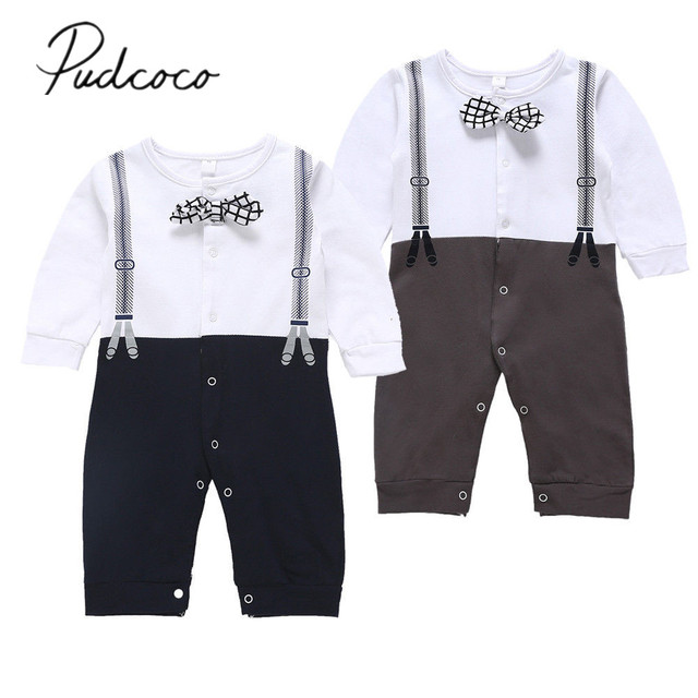22935e00b89c 2019 Brand New Newborn Baby Boy Wedding Formal Suit Bowtie Gentleman Romper  Tuxedo Single Breasted Printed Overall Jumpsuit