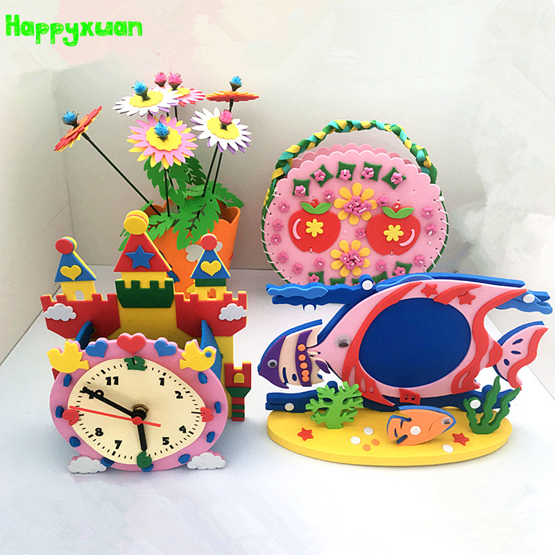 Happyxuan 4pcs/lot DIY Art And Craft Kits Material For Children EVA Sewing Bag Photo Frame Kindergarten Educative Girl Toys