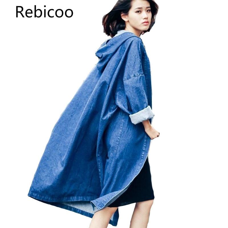Womens Coats Hooded Denim Trench Coat Women Fashion Female Overcoat Ladies Long Denim Coats Cardigan Feminino Plus Size
