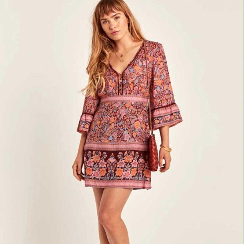 4d425031ca8 BOHO INSPIRED Spring Summer 2019 dress flora print flared sleeves V neck  button adjustable waist casual women dress new vestidos-in Dresses from  Women s ...