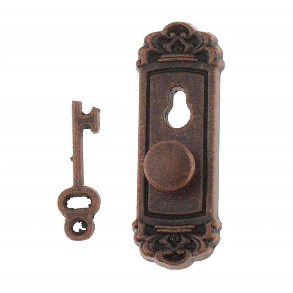 1:12 Dollhouse Miniature Hardware Vintage Metal Door Knob Lock And Key Set