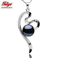 FEIGE Vintage style Real Silver 925 Necklaces & Pendants 10 11mm Black Freshwater Pearl Pendant Necklace for Women Fine Jewelry