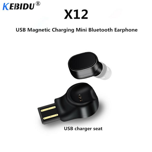 kebidu X12 Bluetooth Wireless Earphone Headset Mini Portable USB Magnetic Charging Headset Sport Earbud For iPhone 7 8 X PK S530