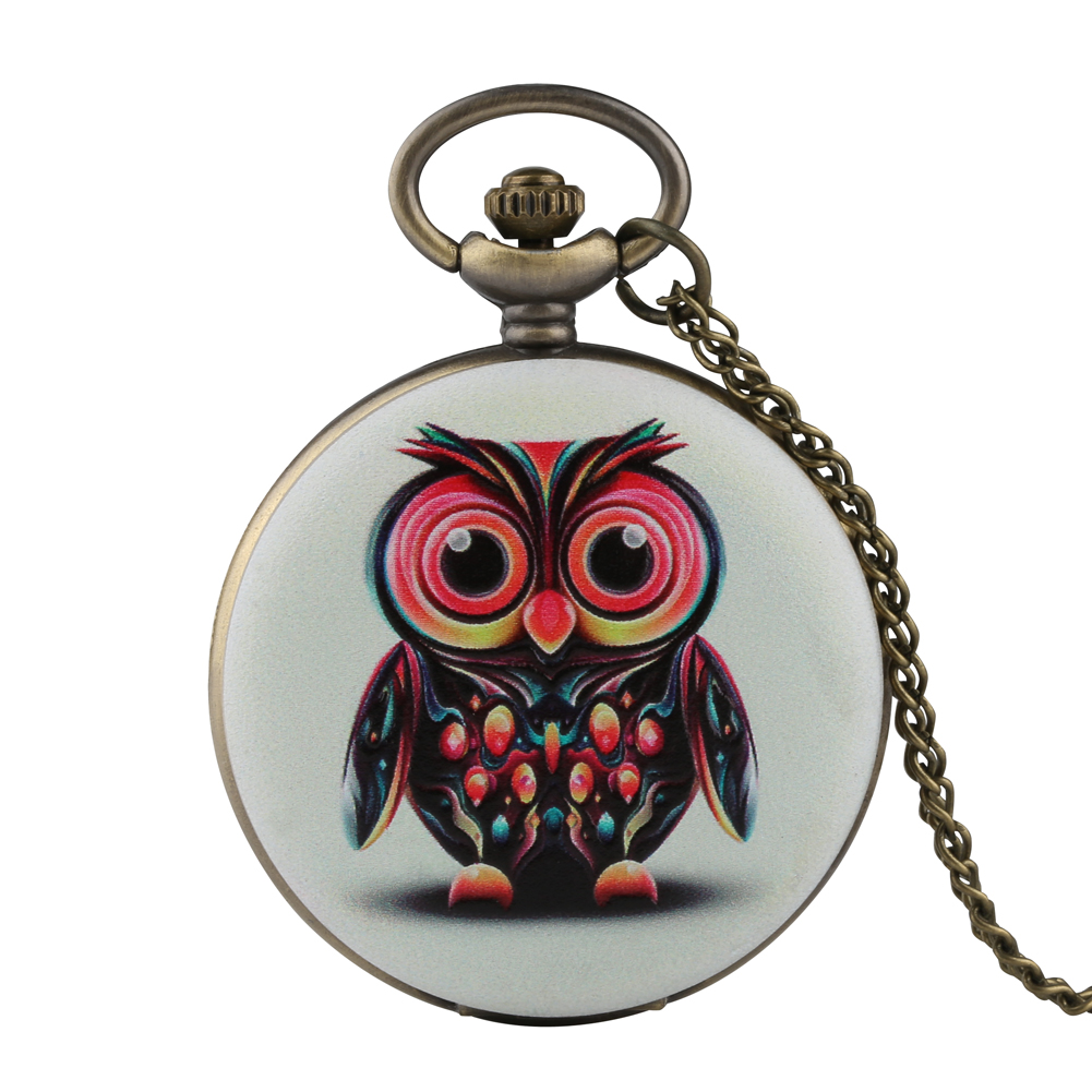 Retro Mens Pocket Watch Cool Owl Design Pocket Watch For Boy Quartz Arabic Numeral Pocket Watches For Teenager