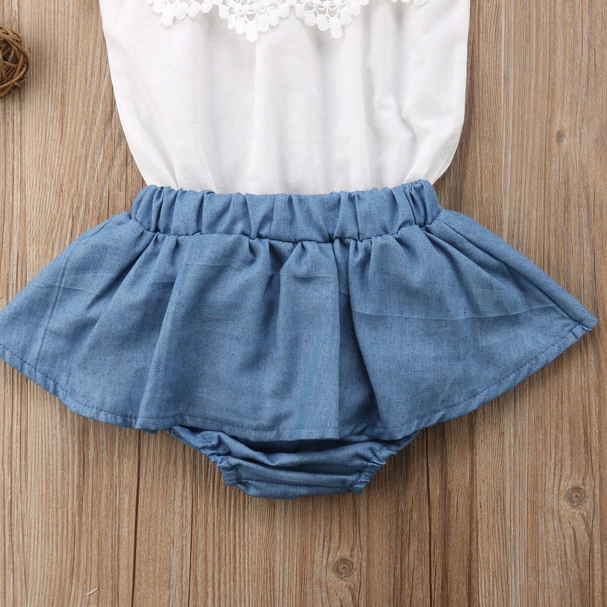 3Pcs Newborn Baby Girls Lace Top Shorts Dress T-shirt Denim Outfits Sunsuit