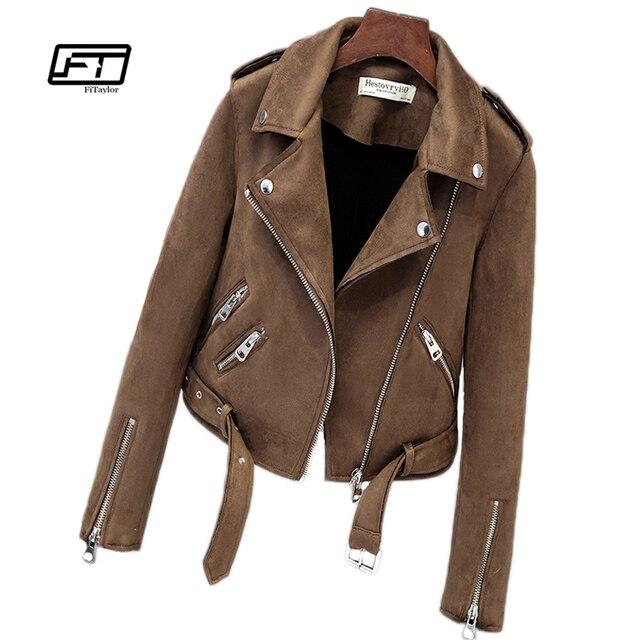 Fitailor nuevo otoño Faux Suede chaqueta de motocicleta para mujer chaqueta de cuero de imitación chaqueta de motorista de mujer abrigo de PU blanco Delgado