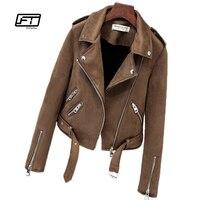 Fitaylor New Autumn Faux Suede Womens Motorcycle Jacket Faux Leather Jacket Women Biker Jacket Slim White PU Coat