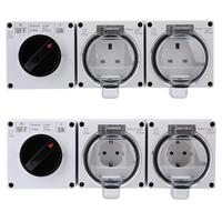 New Waterproof IP66 Electrical Socket Plug Outdoor Power Outlet with On Off Switch Electrical Socket Accessories
