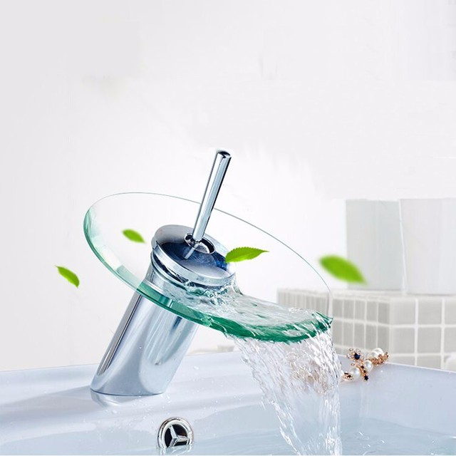 Xueqin Bathroom Waterfall Basin Sink Mixer Tap Faucet Chrome Polished Glass Edge Faucet Tap Cold And Hot Water Deck Mounted