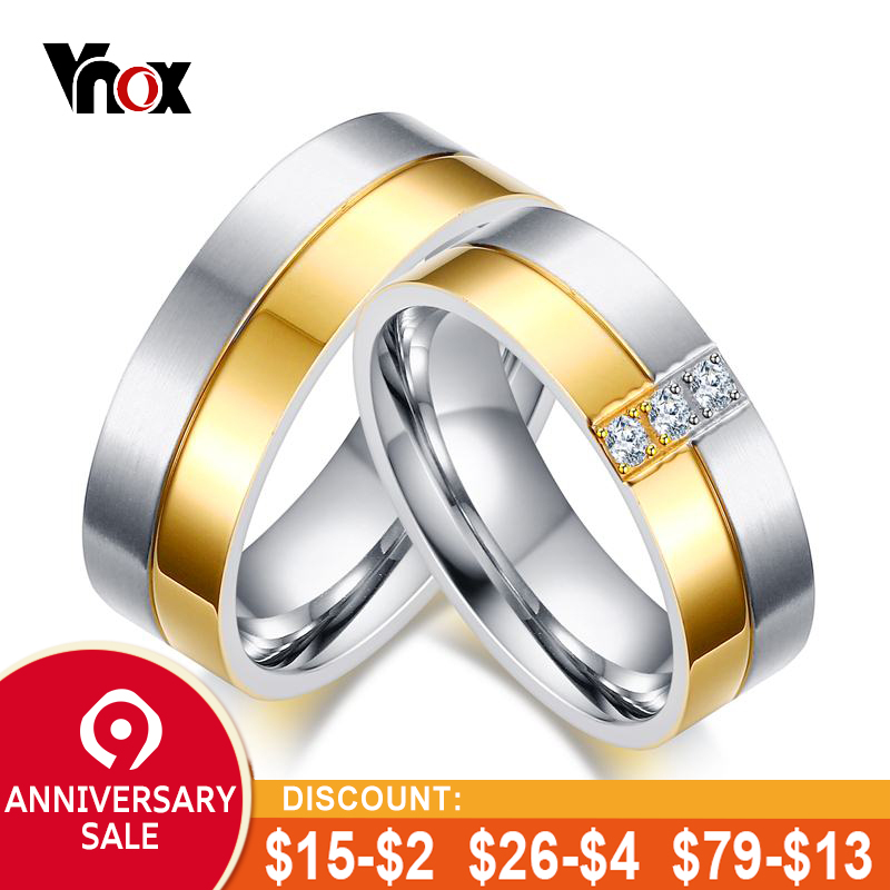 acb0440ac5 Vnox Classic Wedding Rings for Women / Men Gold color Elegant Lovers Couple  Promise Ring Anniversary Jewelry-in Engagement Rings from Jewelry &  Accessories ...