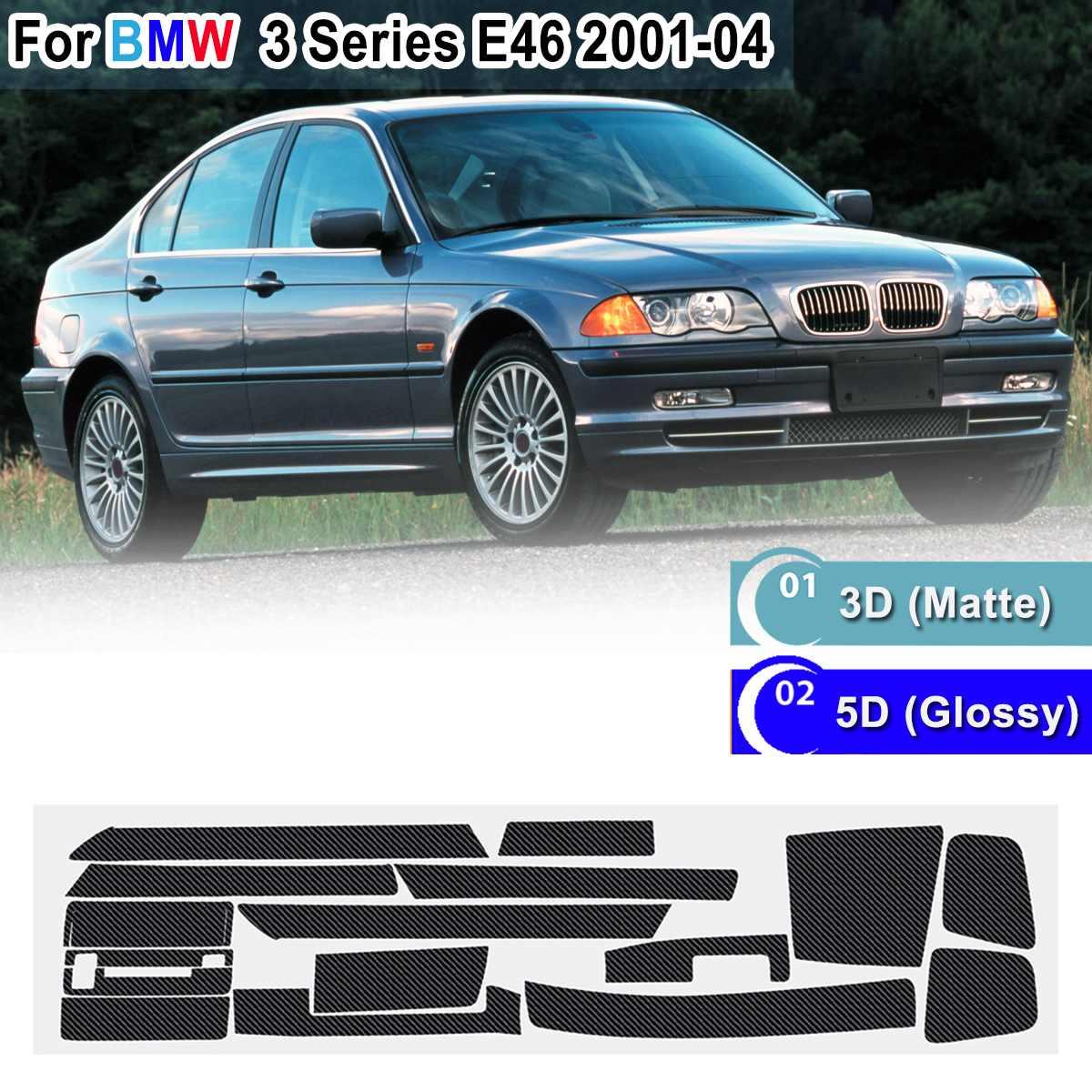 18pcs RHD 5D Glossy/ 3D Matte Carbon Fiber Pattern Interior Sticker Vinyl Decal Trim For BMW 3 Series E46 2001-2004