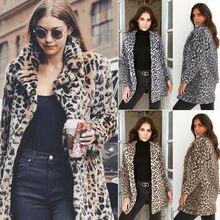 Hirigin 2018 Newest Hot Womens Winter Leopard Fluffy Fleece Jacket Coat Cardigan