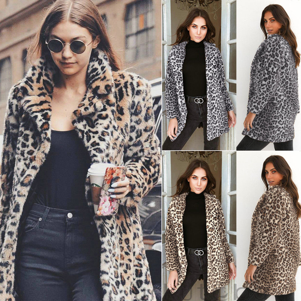 Hirigin 2018 Newest Hot Womens Winter Leopard Fluffy Fleece Jacket Coat Cardigans Hooded Jumper Tops Clubwear