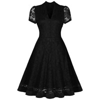 Rosetic Vintage Black Plus Size 2XL Dress Gothic Summer V Neck Short Sleeve A Line Print Floral Harajuku Hollow Out Lace Dress