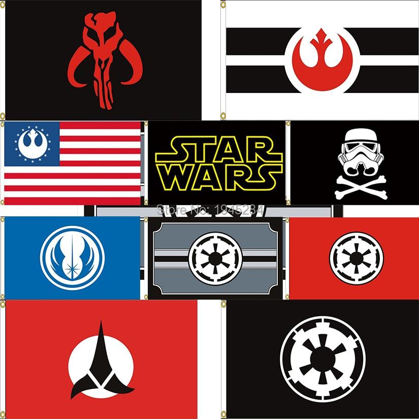 Star Wars Flag Banner Stormtrooper Galactic Empire Rebel Alliance Mandalorian Banner Flag 3x5ft Home Decor, Free Shipping