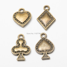 Poker Heart Spade Club Pendants Vintage Bronze Metal Charms For DIY Necklace Jeewelry Making Best Fashion Gift Women 10pcs