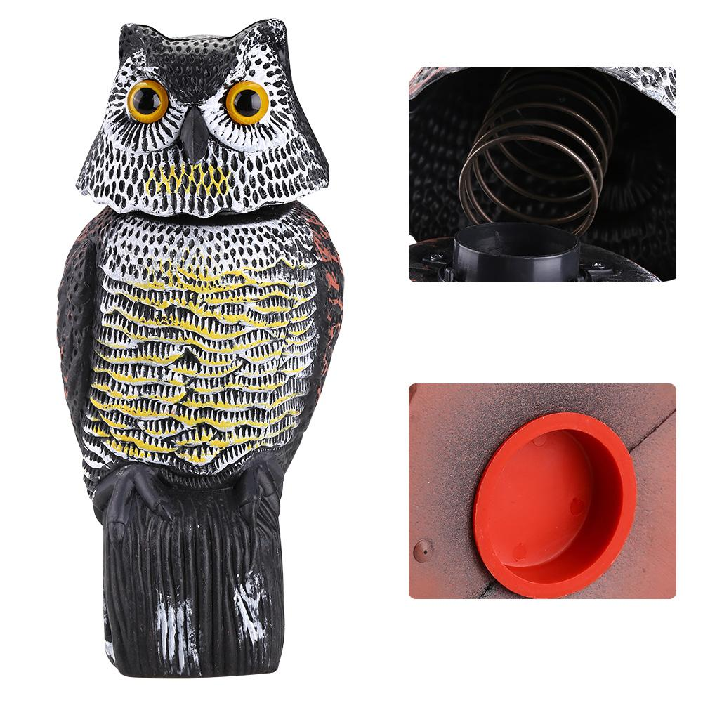 Realistic Bird Scarer Rotating Head Sound Owl Prowler Decoy Protection Repellent Pest Control Scarecrow Garden Yard Move-in Repellents from Home & Garden