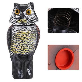 Realistyczny odstraszacz ptaków głowica obrotowa dźwięk sowa Prowler wabik ochrona odstraszający zwalczanie szkodników strach na wróble ogród Yard Move tanie i dobre opinie WALFRONT Komary Ultrasonic Pest Repellers 110-240 v