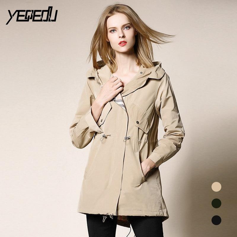 #3307 Long   Trench   Coat For Women Hooded Khaki/Black/Green Thin Windbreaker Plus Size Loose Zipper Overcoat Femme   Trench   mujer