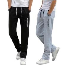 Autumn New Men Pant Cotton Solid Mid Waist Drawstring Sweatpants Elasticityl font b Slim b font