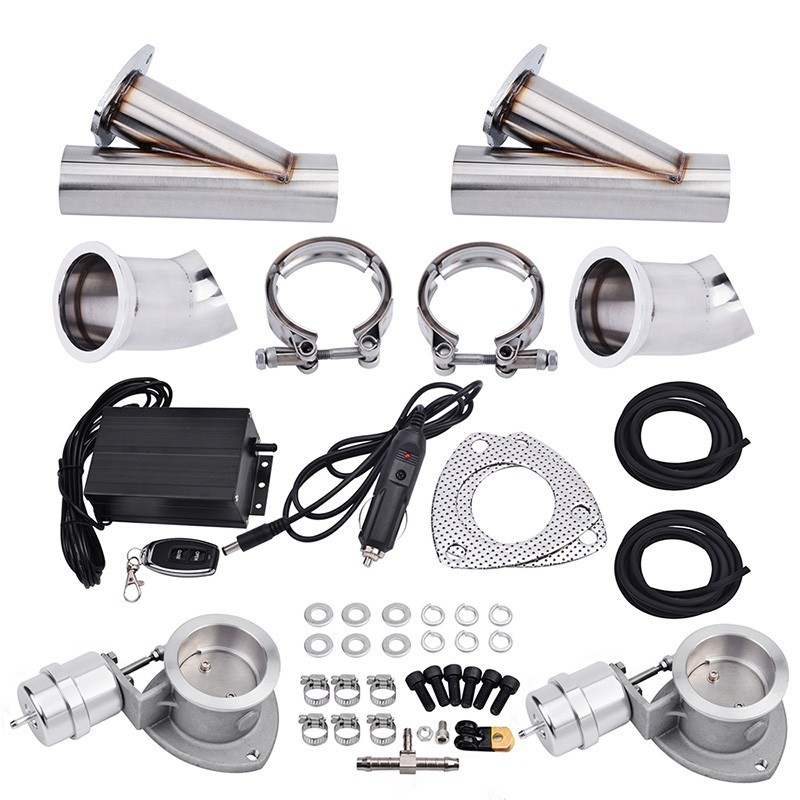 SPEEDWOW 3.0'' Exhaust System Electric Vacuum Valve Headers Y Pipe Exhaust Cutout Catback Pair Exhaust Tip Muffler Kit Car Parts