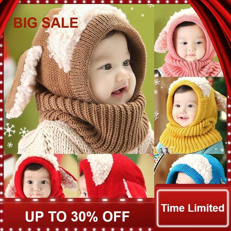 Baby Hat With Scarf Toddler Winter Beanie Warm Hat Scarf Earflap Knitted Cap Cute Cartoon Kids Hat Scarf Set