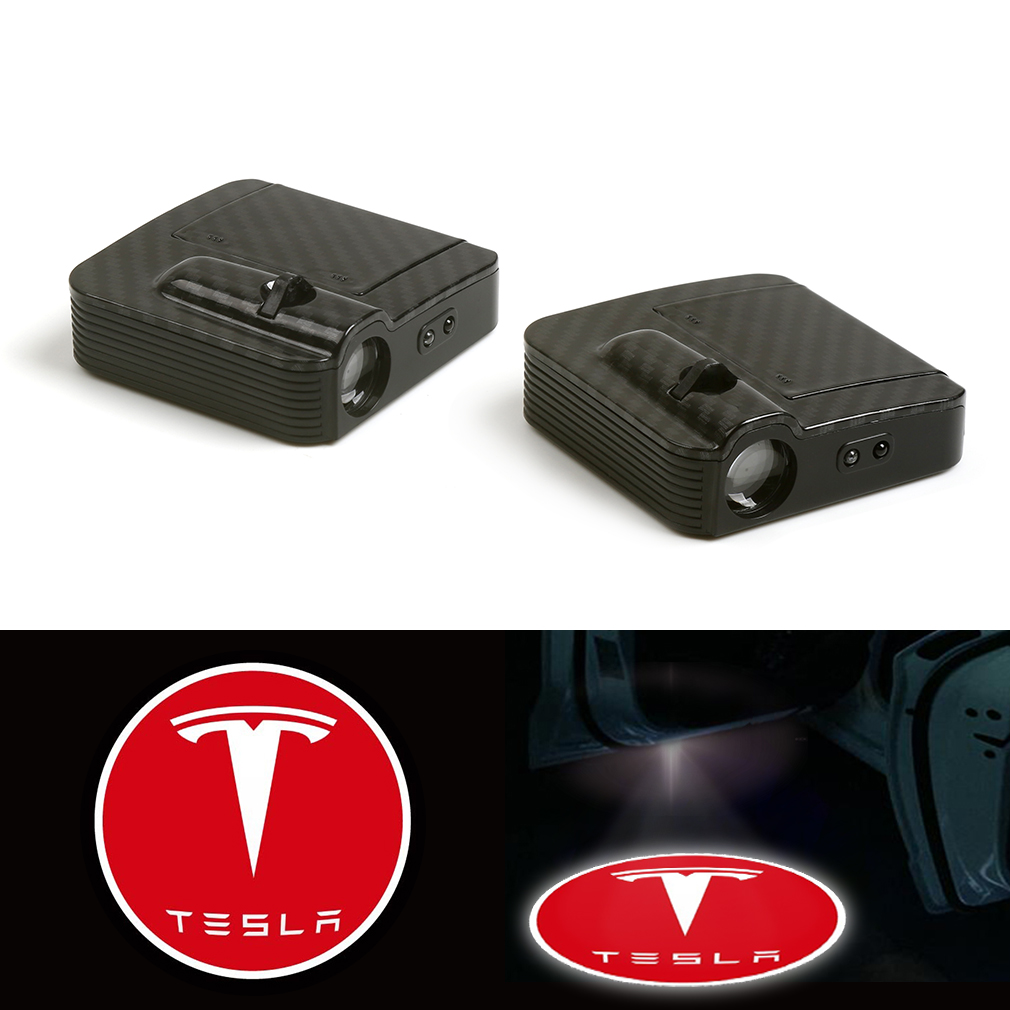 Car Door LED Puddle Courtesy Light Projector White Fit For Tesla 12V in Decorative Lamp from Automobiles Motorcycles
