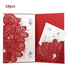 10PCs Hollow Pocket-Type Invitation Card High-End Business Meeting Letter Wedding Invitations 2019 Hot Sale