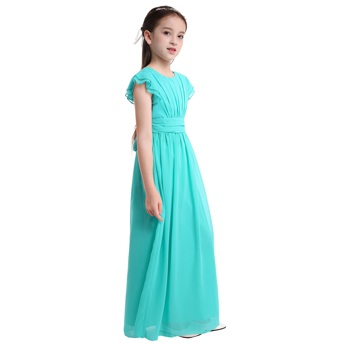 Image 3 - iiniim Girls Flower Tutu Dress Flutter Sleeves Princess Dresses Bridesmaid Summer Birthday Party Dress Childrens Clothinggirls christmas dressgirl christmasbirthday party dress -