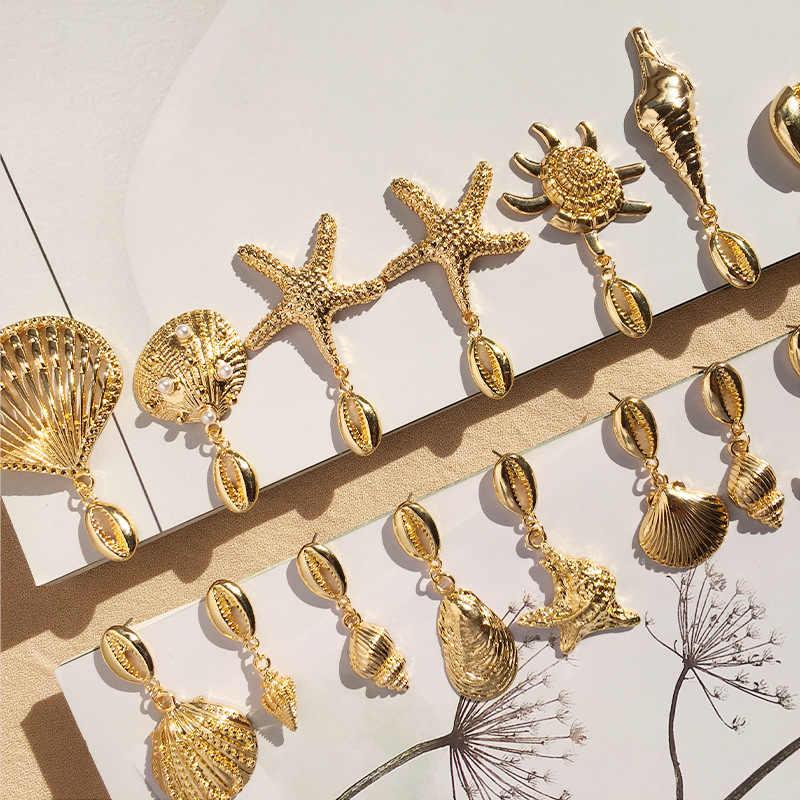 Bella Bianco Perla Oro Grande Cerchio Della Boemia di Stile 14 Modelli Orecchini a pendaglio Blu 1 Pair Unico Stelle Marine Conchiglia Cowary Borsette