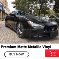 OPLARE matte metallic Vinyl Film Roll Car Wrap black Vinyl Wrap Bubble Free For Car Styling (Color: black )Size: :1.52*20m/Roll