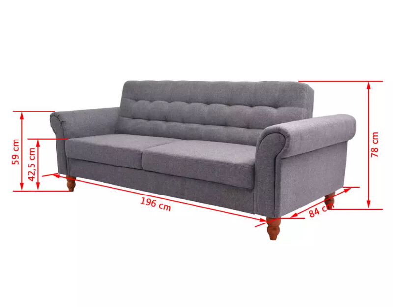 Vidaxl Living Room Sofa Bed Home Furniture Gray Color Modern Design Comfortable Sofa Bed Furniture 2 In 1 Sofa High Quality