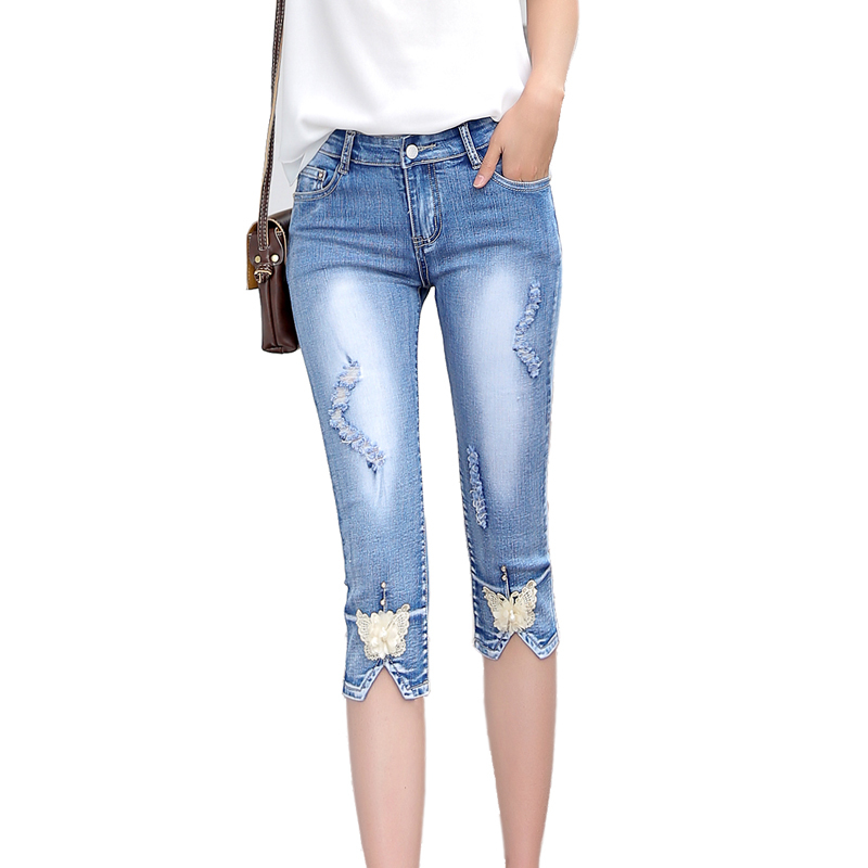 Summer Skinny Denim Capris Women Fashion Mid Waist Casual Ripped Hole Calf-Length Denim Pant Ladies Pencil   Jeans   Mujer 2019