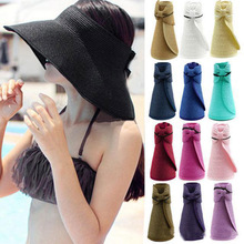 Folding Sun Hat Fishing Cap  1pc Fashion Outdoor Sports UV Hat  Beach Cap Shade Empty Top Straw Hat Female Summer Sunscreen outfly folding sun hat cap cap outdoor foldable quick dry sun fishing fishing hat waterproof men sports duck cap