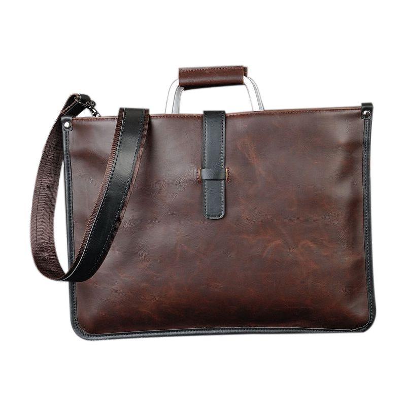 Men Leather Briefcase Business Laptop Bag Attache Messenger Portfolio Bags Brown
