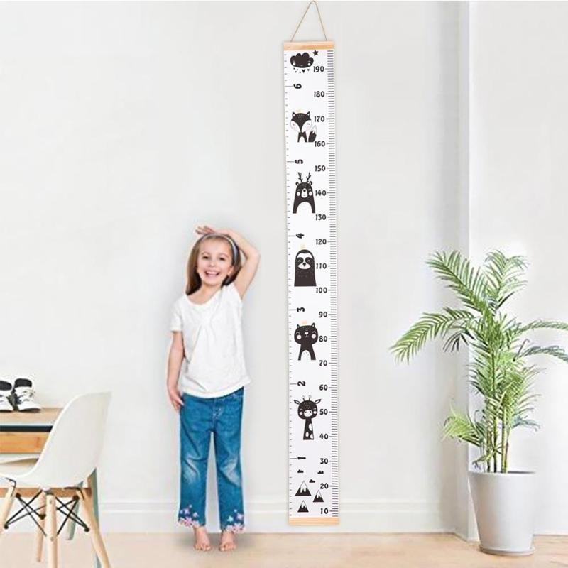 Height Scale Measure Growth Chart Wall Stickers For Kids Baby Bedroom Decor Cartoon Animals For Kids Rooms Growth Chart Wall Art