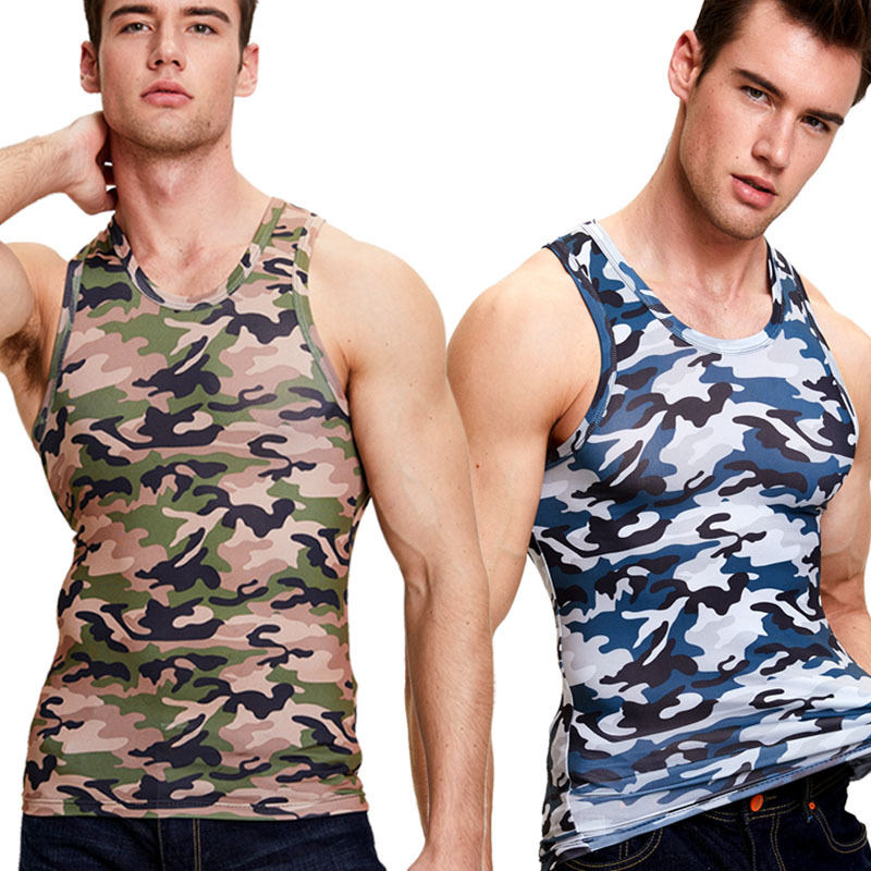 Camouflage   Tank     Top   Men Tight Movement Fitness Stretch Milk Silk Summer Quick-Drying Slim   Tops