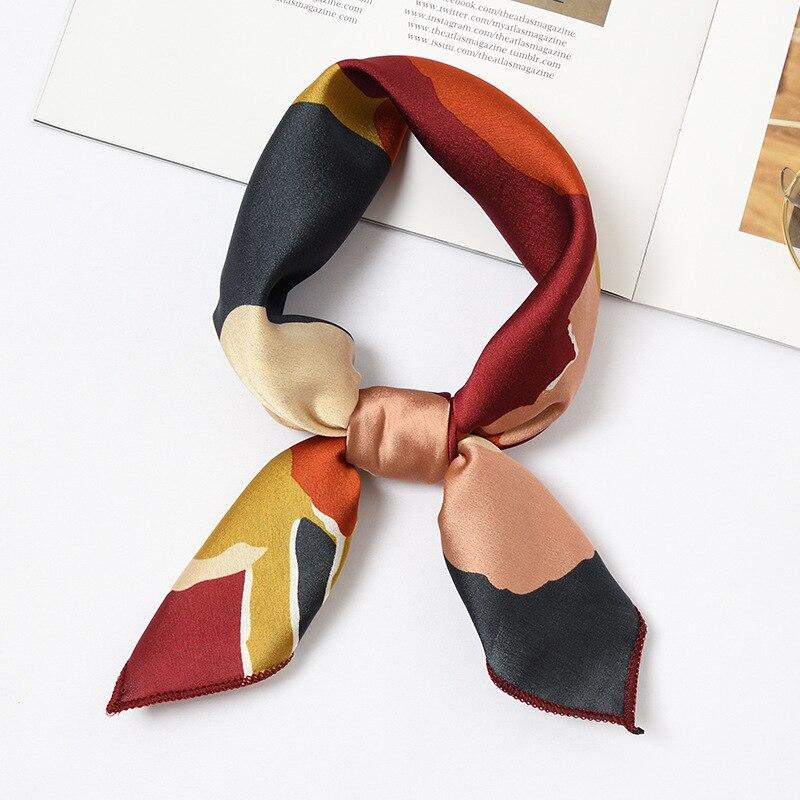 Frauen Sommer Mode Elegante Kleine Vintage Platz Seide Fühlen Satin Schal Dünne Retro Kopf Hals Haar Krawatte Band Zubehör