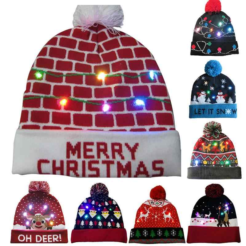 2018 Novelty LED Light-up Knitted Beanies Hat Party Decoration Xmas  Christmas Hats For Men 4f60aab76477