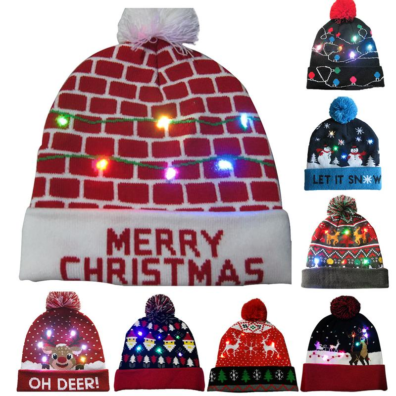 2018 Novelty LED Light-up Knitted Beanies Hat Party Decoration Xmas Christmas Hats For Men Women Girls Boys Led Light Cap Gifts