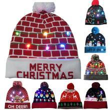 48f94898540ee 2018 Nouveauté LED Lumière-up Tricoté Bonnets Chapeau Parti Décoration De  Noël De Noël Chapeaux