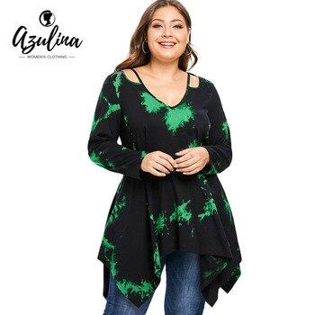 2207745b5137b Rosegal Plus Size Cutout Tie Dye Handkerchief Tunic T Shirt Women